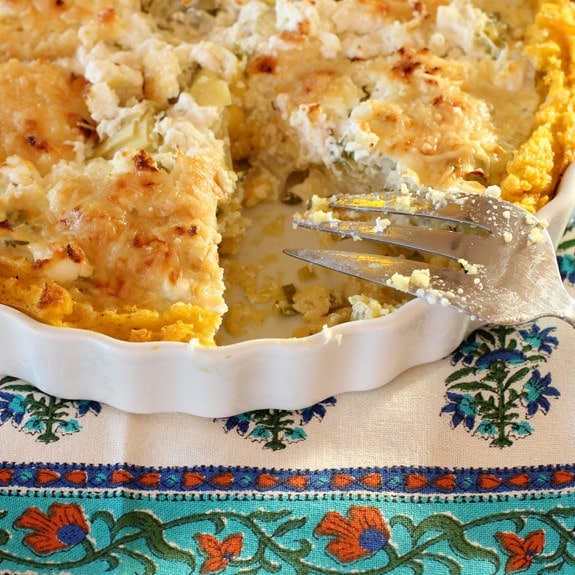 Artichoke Rosemary Tart with Polenta Crust