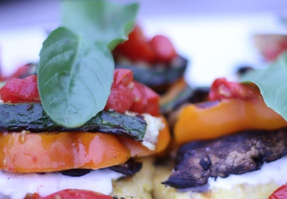 Grilled Polenta Veggie Stacks w/ Balsamic Cherry Tomatoes // The Spicy RD