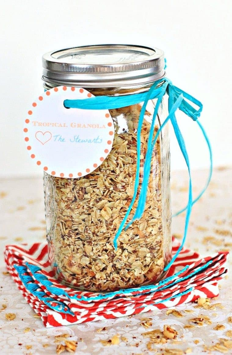 Low FODMAP Granola in Mason Jar with Bow