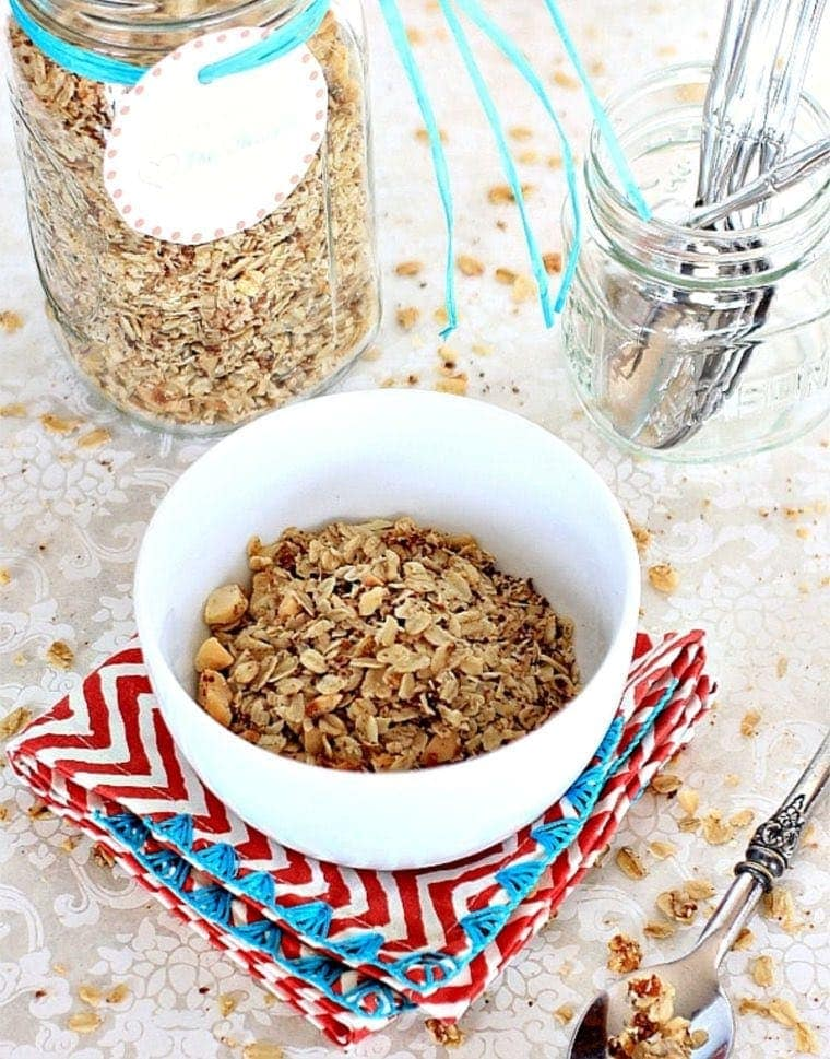 Low FODMAP Granola in a white bowl.