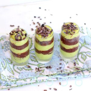3 vegan pudding grasshopper pie shots lined up in a row.
