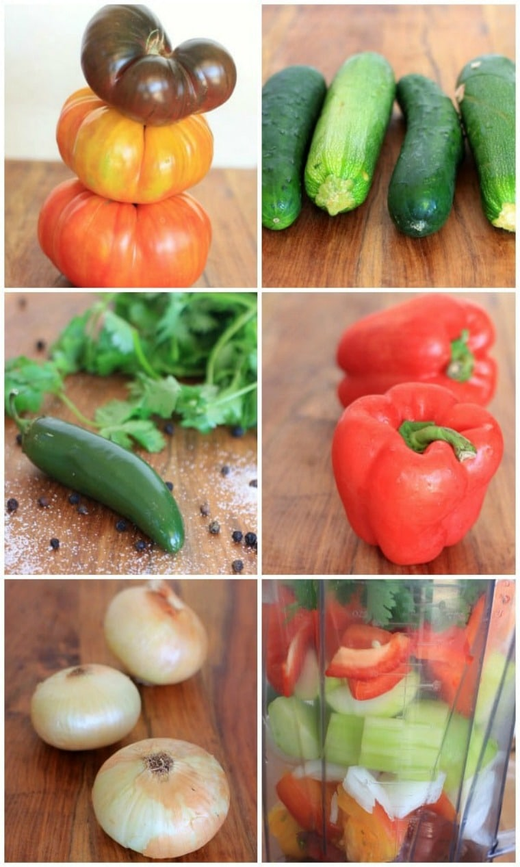 photo collage with tomatoes, cucumber, red bell peppers, onion, and jalapeno