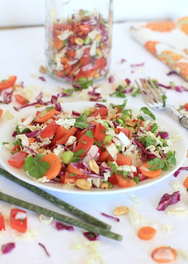 Crunchy Asian Chopped Cabbage Salad with Peanut Dressing // The Spicy RD