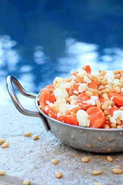 Super Simple Side Dish: Carrots with Feta Cheese & Toasted Pine Nuts