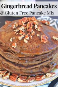 Gingerbread pancakes with pecans and maple syrup Pinterest image