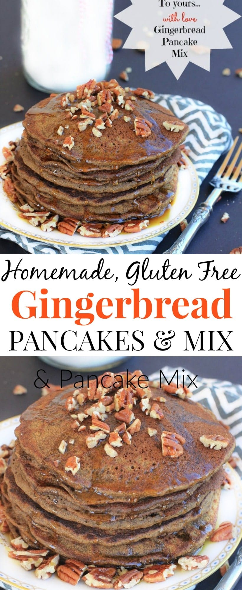Homemade Gluten FreeGingerbread Pancakes & Gingerbread Pancake Mix| The most delicious gift to give this holiday season! #GlutenFree #Gingerbread #Gift #LowFODMAP #Holidays
