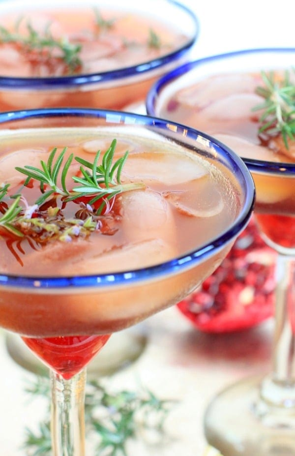 Triple Citrus Pomegranate Rosemary Margaritas