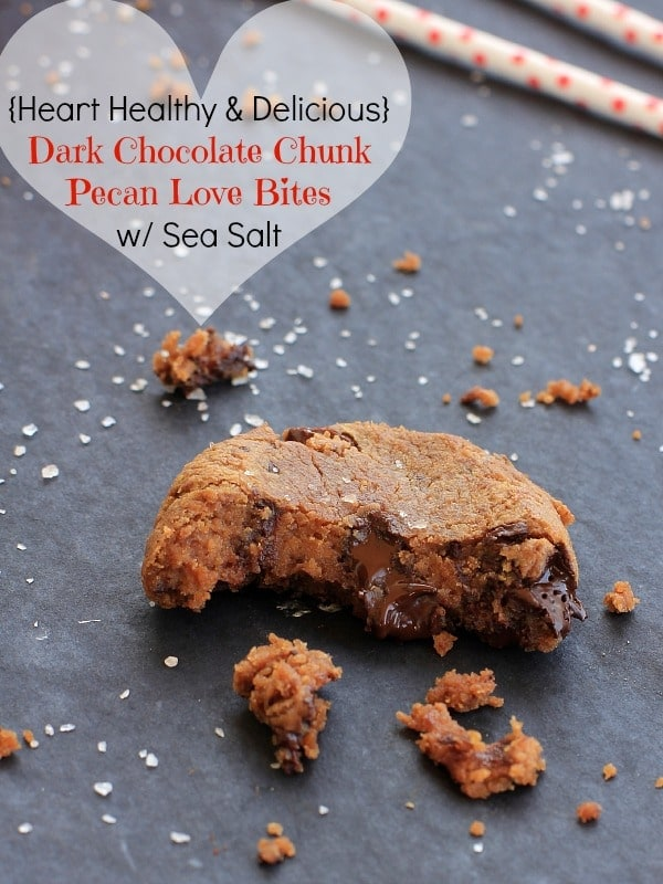 Dark Chocolate Chunk Pecan Love Bites with Sea Salt // The Spicy RD