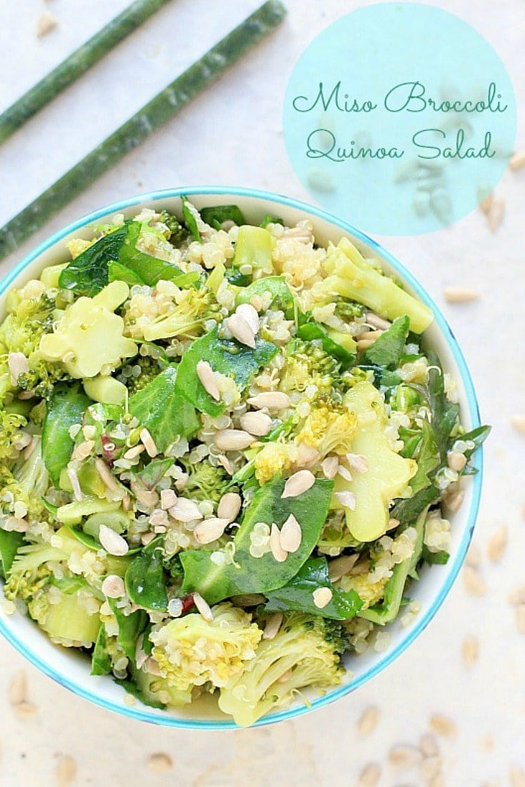 Not only is this a very nutritious salad, but it also keeps for days in the refrigerator. Make a big batch of this Miso Broccoli Quinoa Salad over the weekend and have it for several lunches throughout the week. #GlutenFree #VeganFood #LowFODMAP