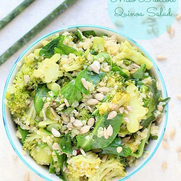 Easy, healthy make ahead lunch idea! Gluten Free, Vegan Miso Broccoli & Quinoa Salad | Recipe at The Spicy RD has a low FODMAP option too.