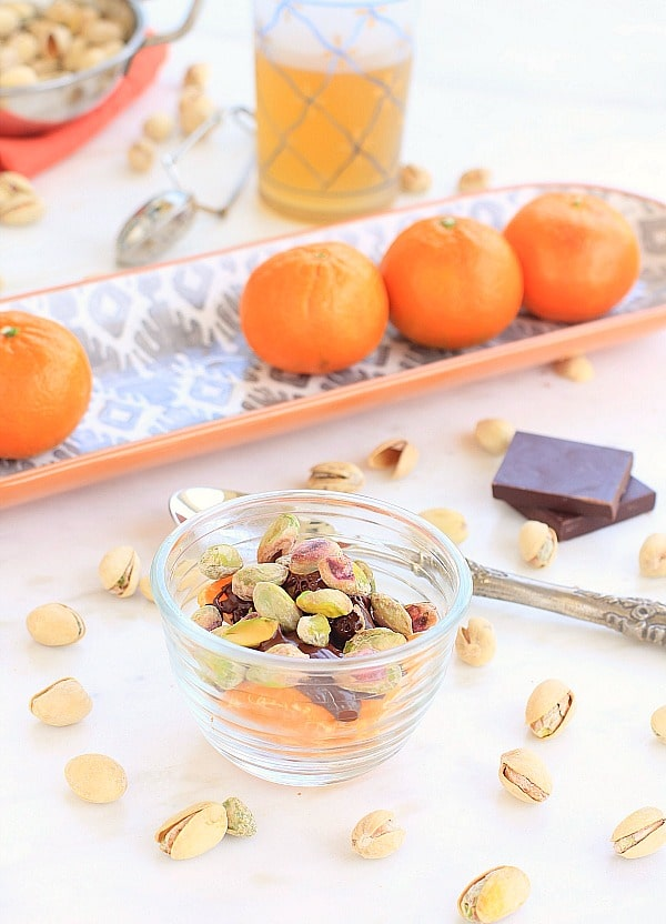 Pistachio Party for 1: Tangerines, Melted Chocolate, Pistachio Nuts & Green Tea