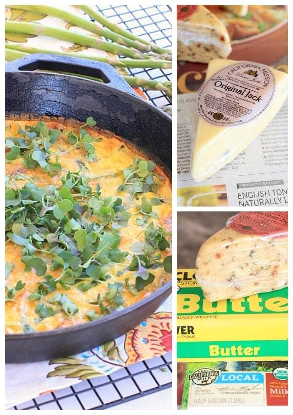 Savory Dutch Baby Pancake with California Monterey Jack Cheese. Asparagus, and Microgreens