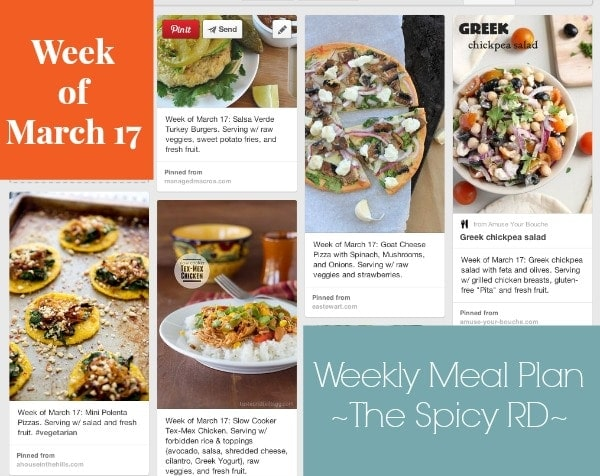Weekly Meal Plan March 17 // The Spicy RD