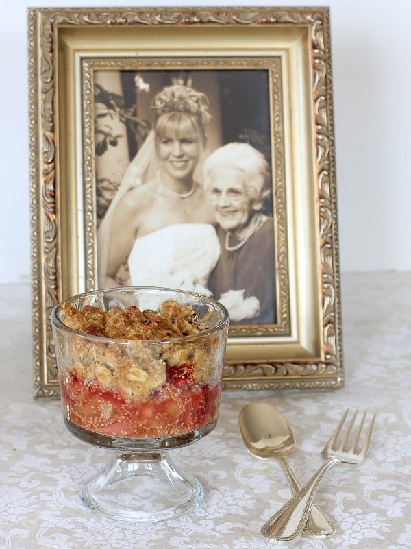 Strawberry Rhubarb Crisp and Grandma Edith