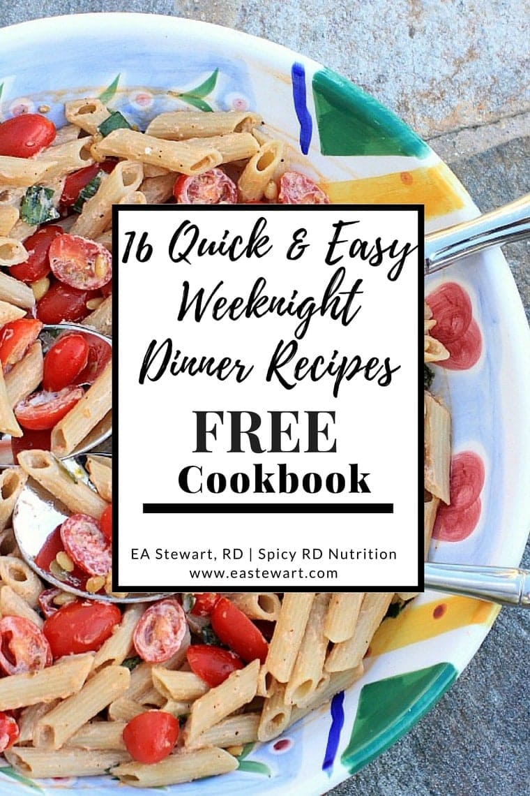 Easy weeknight dinners for family cookbook with pasta and tomatoes