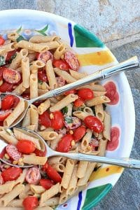 Easy Gluten Free Pasta Salad with Tomatoes, Basil, & Fresh Ricotta