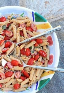 Quick and Easy Pasta Salad w/ Tomatoes, Basil, and Fresh Ricottta Cheese. Simple, nourishing, and delicious!