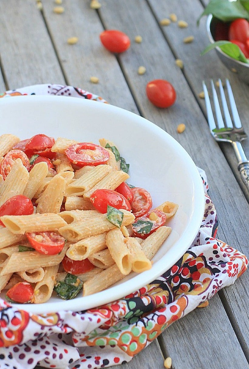 Simple Pasta Salad with Tomatoes, Basil, and Fresh Ricotta Cheese