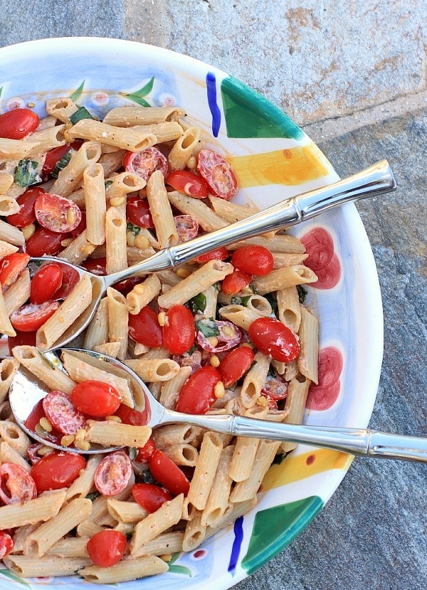 Pasta Salad with Tomatoes, Basil and Fresh Ricotta Cheese