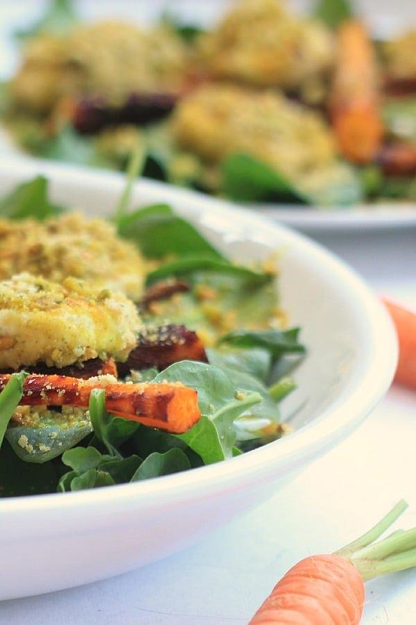 Roasted Carrot Salad w/ Pistachio Herbed Goat Cheese & Blood Orange Vinaigrette
