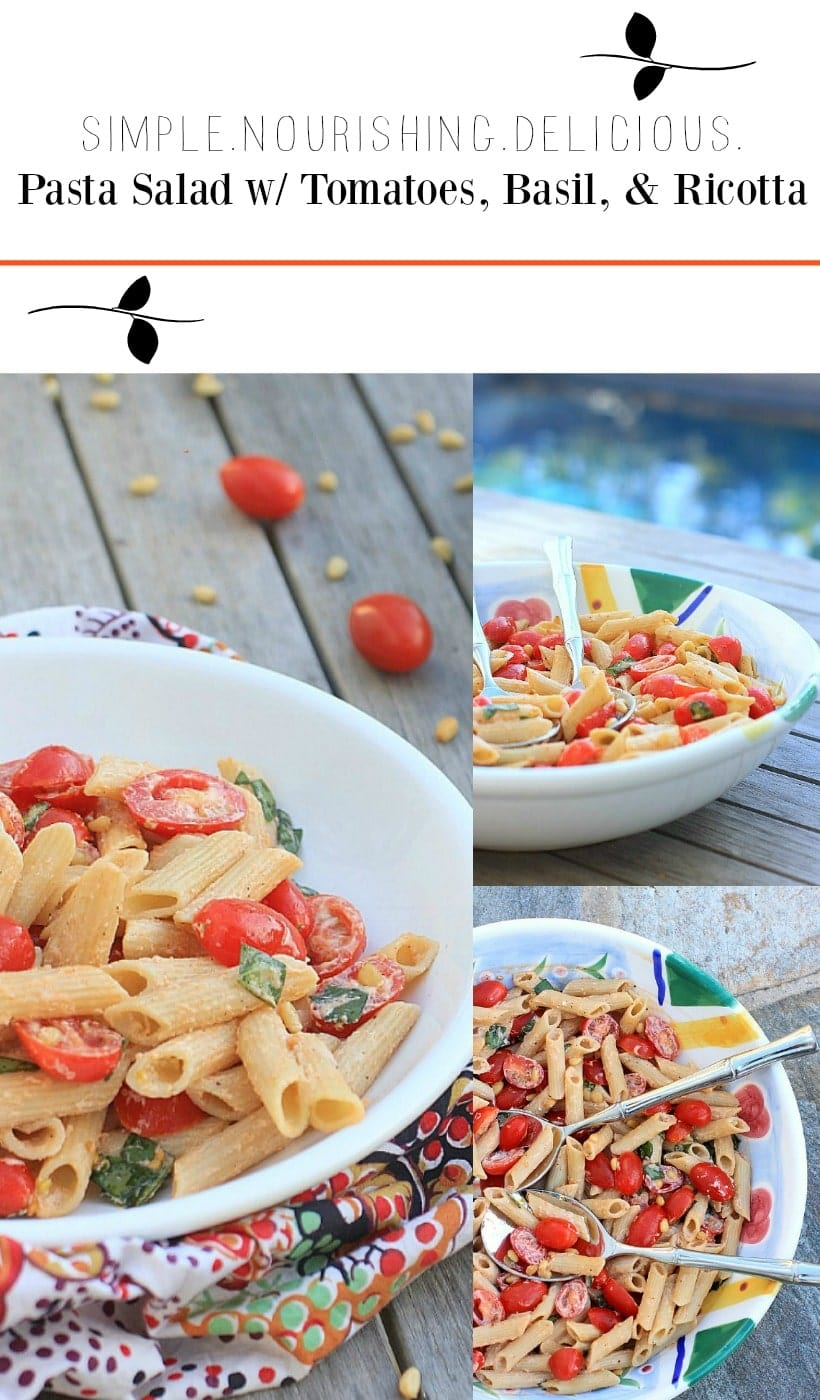 Dinner doesn't get much easier than this Simple Pasta Salad with Tomatoes, Basil, and Fresh Ricotta Cheese. So easy and delicious!
