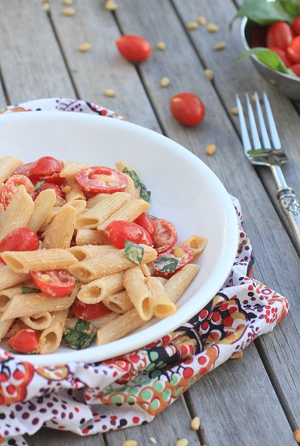 Pasta Salad with Tomatoes, Basil, and Fresh Ricotta // The Spicy RD