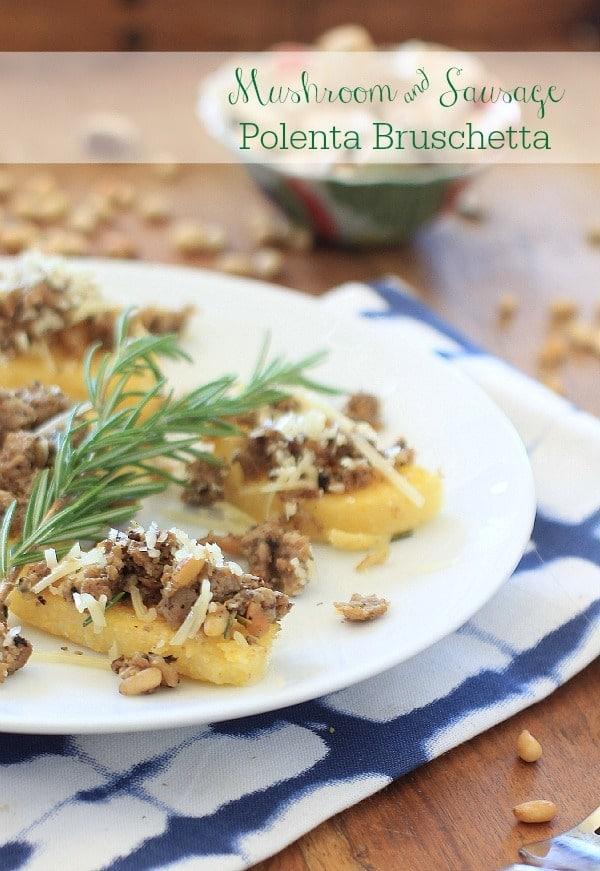 Mushroom Sausage Polenta Bruschetta // The Spicy RD