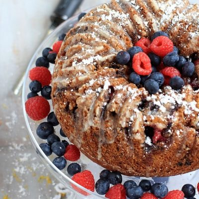 So moist and delicious, and perfect for Mother's Day Brunch! Double Berry Lemon Bundt Cake