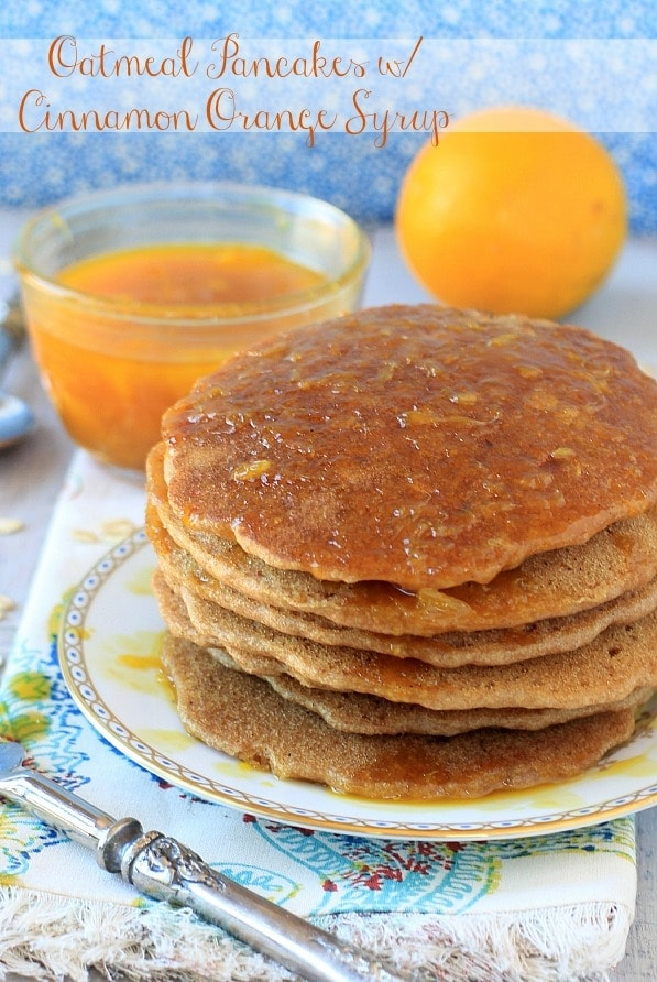 Oatmeal Pancakes with Cinnamon Orange Syrup 2