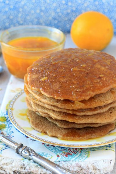 Vegan Oatmeal Pancakes w/ Cinnamon Orange Syrup
