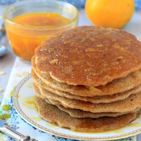 Vegan Oatmeal Pancakes with Cinnamon Orange Syrup