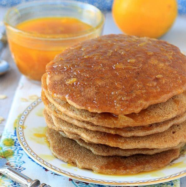 Vegan Oatmeal Pancakes w/ Cinnamon Orange Syrup