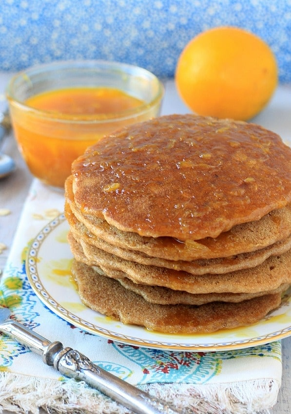 Oatmeal Pancakes with Cinnamon Orange Syrup