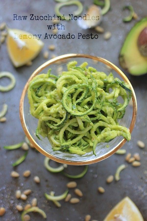Raw Zucchini Noodles with Lemony Avocado Pesto