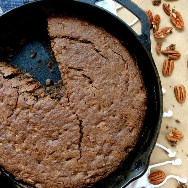 This quick and easy Skillet Buckwheat Banana Bread is vegan, gluten-free, and Low FODMAP. Enjoy a slice for breakfast, or as a delicious afternoon snack with a cup of tea!