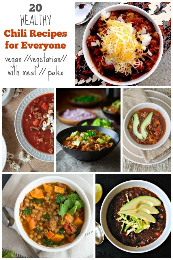20 Chili Recipes for Everyone- vegan, vegetarian, with meat, and paleo