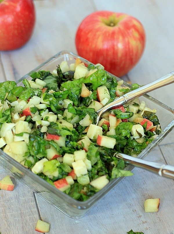 Autumn Chopped Salad: Apples, Cheddar, Fennel, Nuts and Apple Maple Vinaigrette