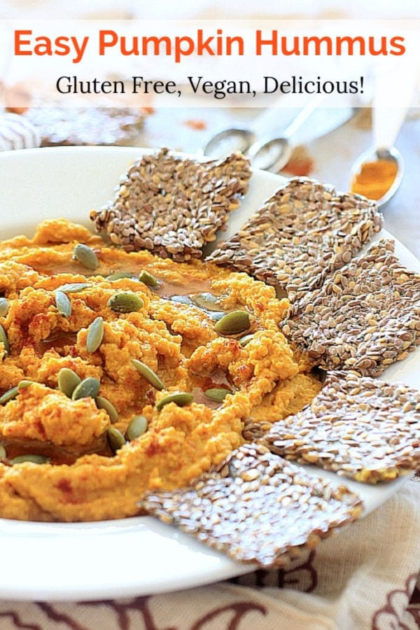 You'll love this easy savory pumpkin hummus recipe with smoked paprika and other anti-inflammatory rich spices! Serve it with veggies gluten free crackers, or stuffed inside collard greens with avocado, veggies, and pumpkin seeds for a healthy vegan snack!