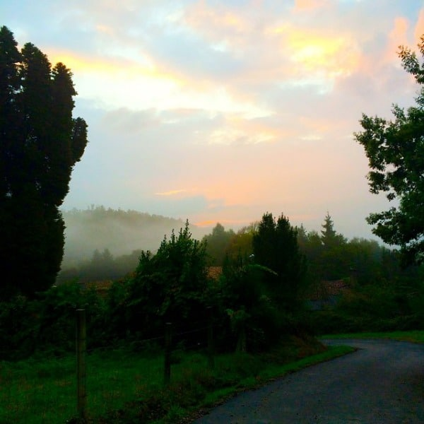 Sunrise on the Camino Frances, not too far from Santiago de Compostela, Spain.