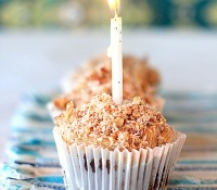Happy Birthday! German Chocolate Brownie Cupcakes with Coconut Pecan Caramel Frosting