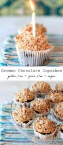 Happy Birthday to Me! German Chocolate Cupcakes with Raw Coconut Pecan Caramel Frosting