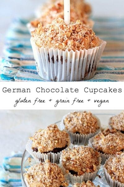 Vegan German Chocolate Cupcakes w/ Raw Coconut Pecan Caramel Frosting | Recipe is also gluten free and grain free @thespicyrd www.eastewart.com