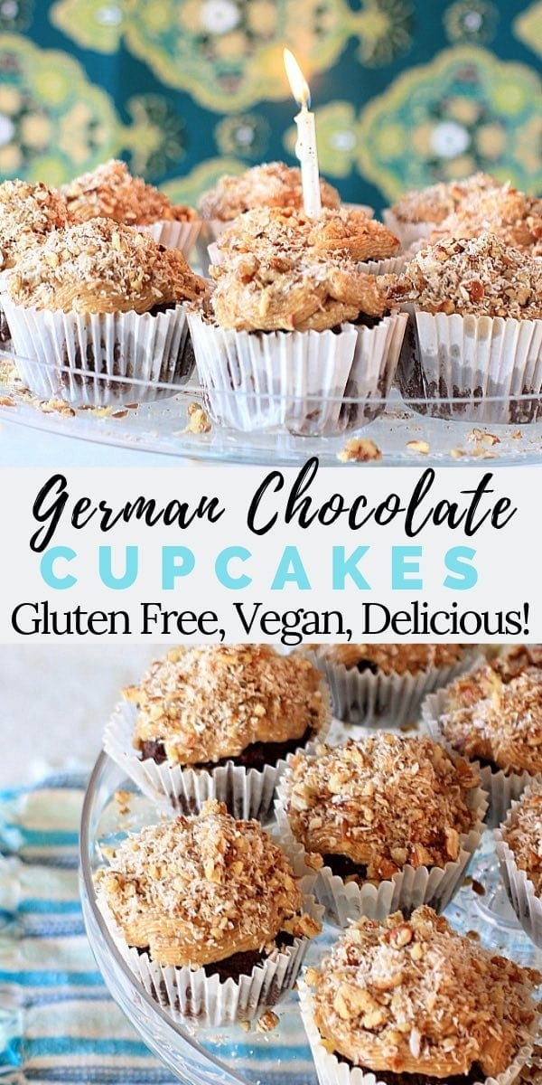 These German Chocolate Cupcakes w/ Coconut Pecan Caramel Frosting are super moist and delicious. They're also vegan, gluten free, and grain free so everyone can enjoy them for a special dessert!