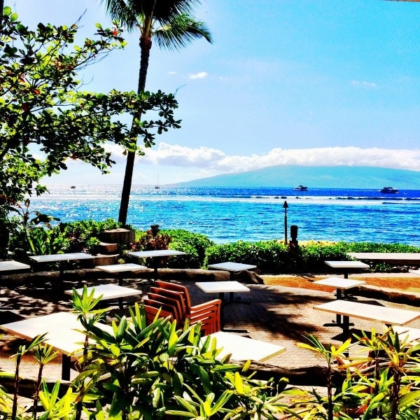 Gorgeous view from Betty's Beach Cafe in Lahaina, Maui