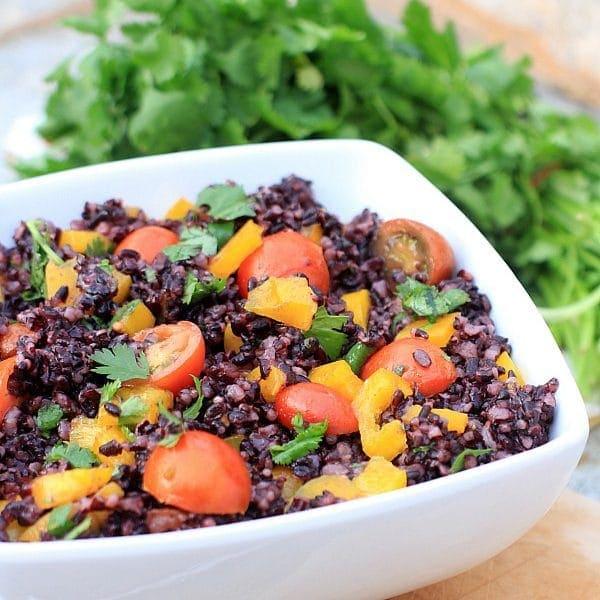 Low FODMAP Cherry Tomato & Forbidden Rice Salad