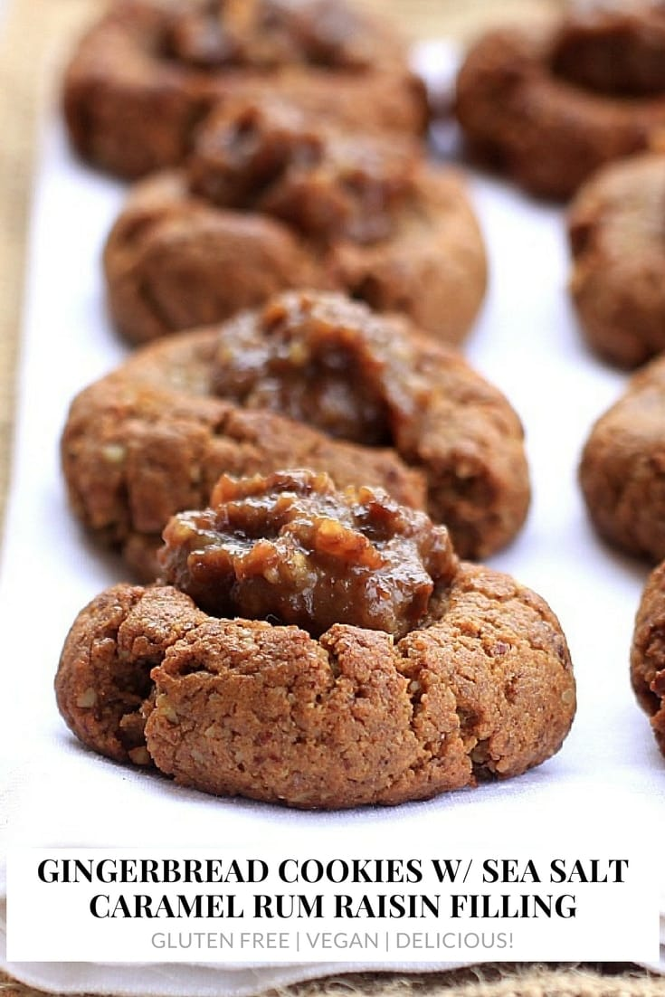 These Gingerbread Cookies w/ Sea Salt Caramel Rum Raisin Filling are absolutely divine! Treat a friend {and yourself!} to a batch for Chr