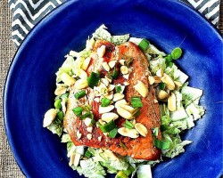 This Easy Asian Pan Seared Salmon Salad for One is ready in l10 minutes or less, and makes a delicious light and healthy lunch for those days when you have no time to spare! {gluten-free, low carb, heart healthy}