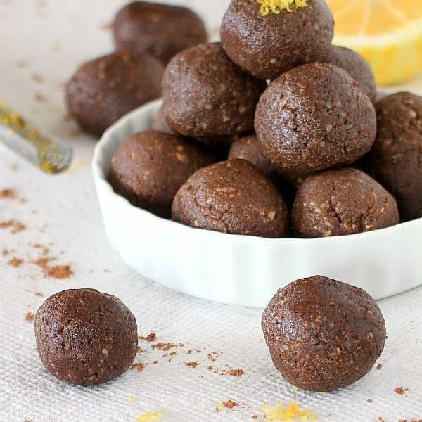 {No Bake} Cocoa Lemon Energy Bites & Cocoa Lemon Truffles