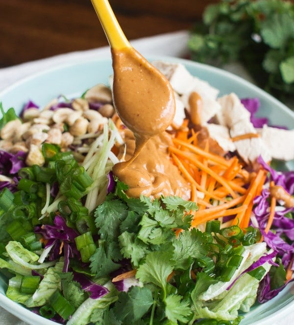 Asian Chopped Chicken Salad with Peanut Dressing from MJ and Hungryman.