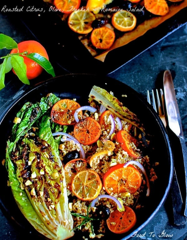 Roasted Citrus, Olive, Freekeh and Romaine Salad from Food to Glow.